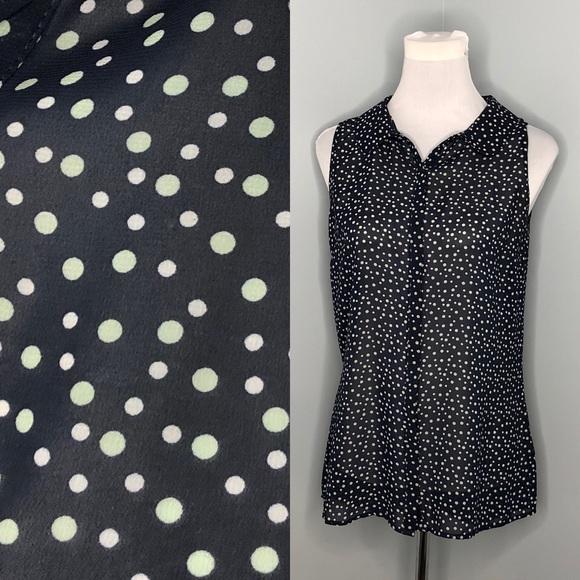 Suzy Shier Sleeveless Polka Dot Blouse